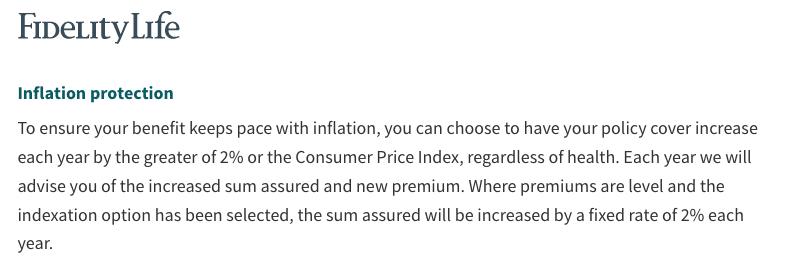 Fidelity Life - CPI adjusted level premiums - LifeCovered